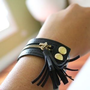 Jewelry - Black Leather Zipper Cuff Bracelet